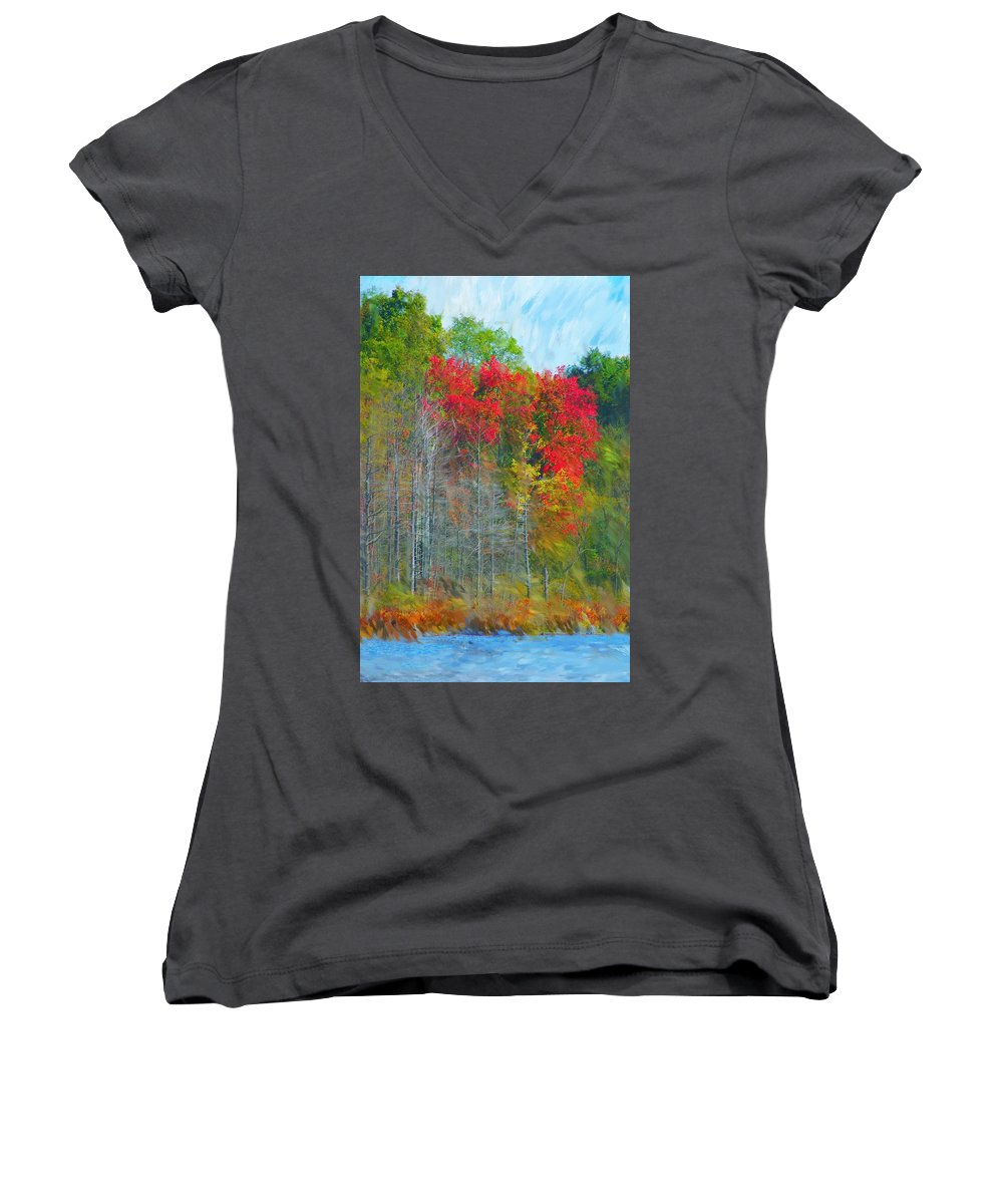 Landscape Women's V-Neck T-Shirt featuring the digital art Scarlet Autumn Burst by David Lane