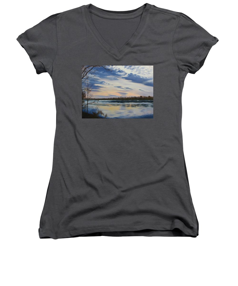 Clouds Women's V-Neck (Athletic Fit) featuring the painting Scenic Overlook - Delaware River by Lea Novak