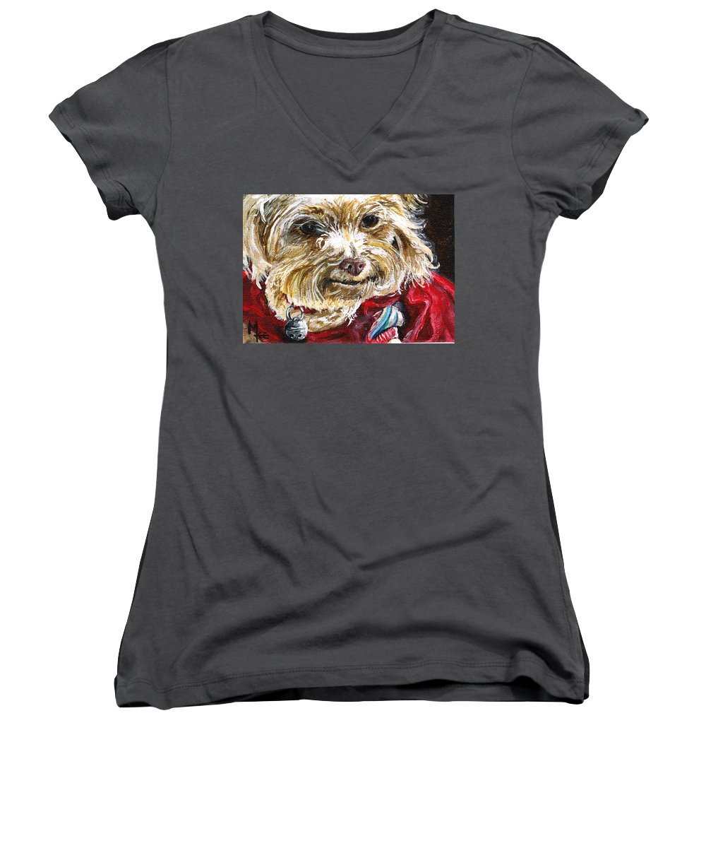 Charity Women's V-Neck T-Shirt featuring the painting Scooter From Muttville by Mary-Lee Sanders