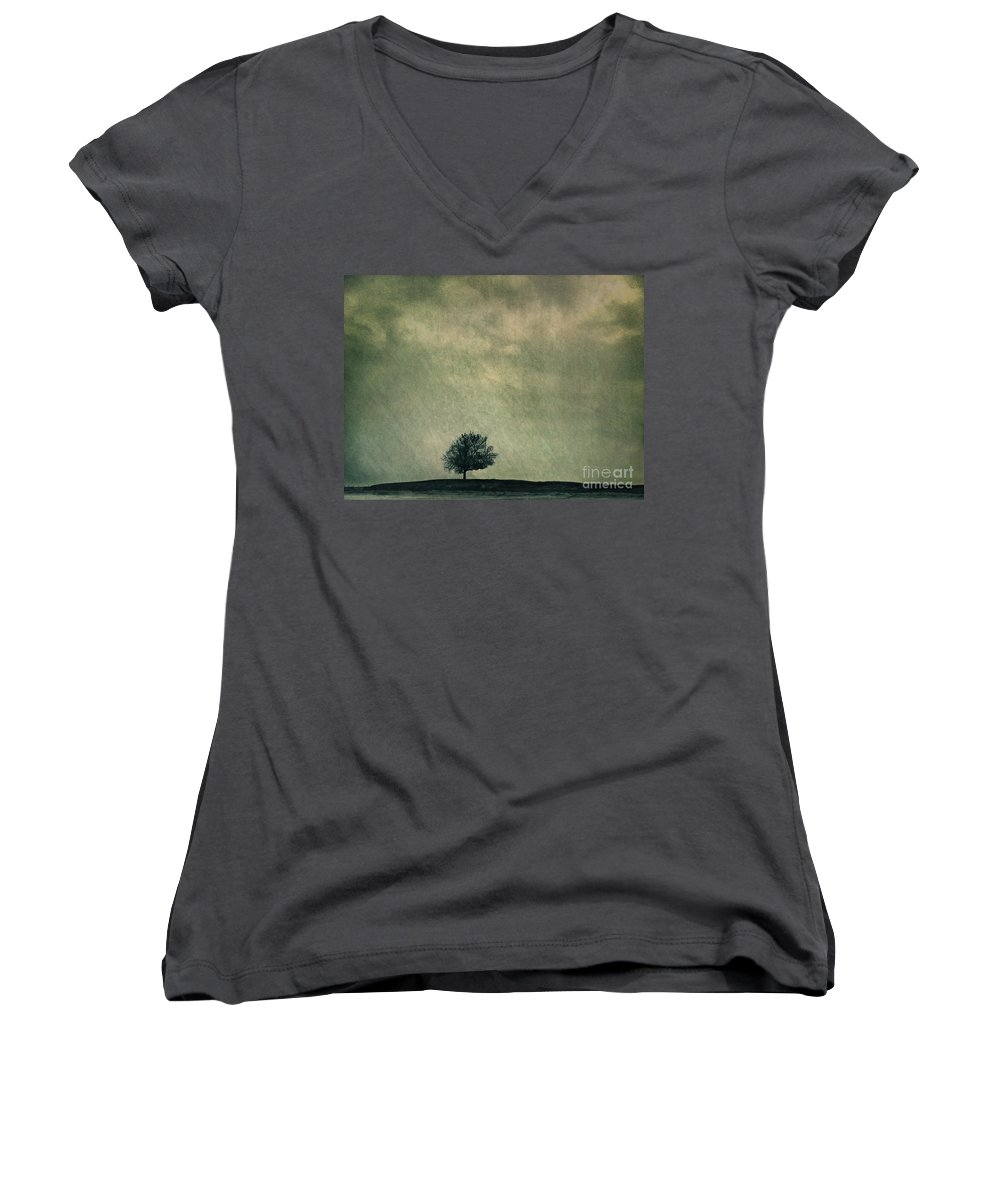 Blue Women's V-Neck (Athletic Fit) featuring the photograph Screaming At The Top Of My Voice by Dana DiPasquale