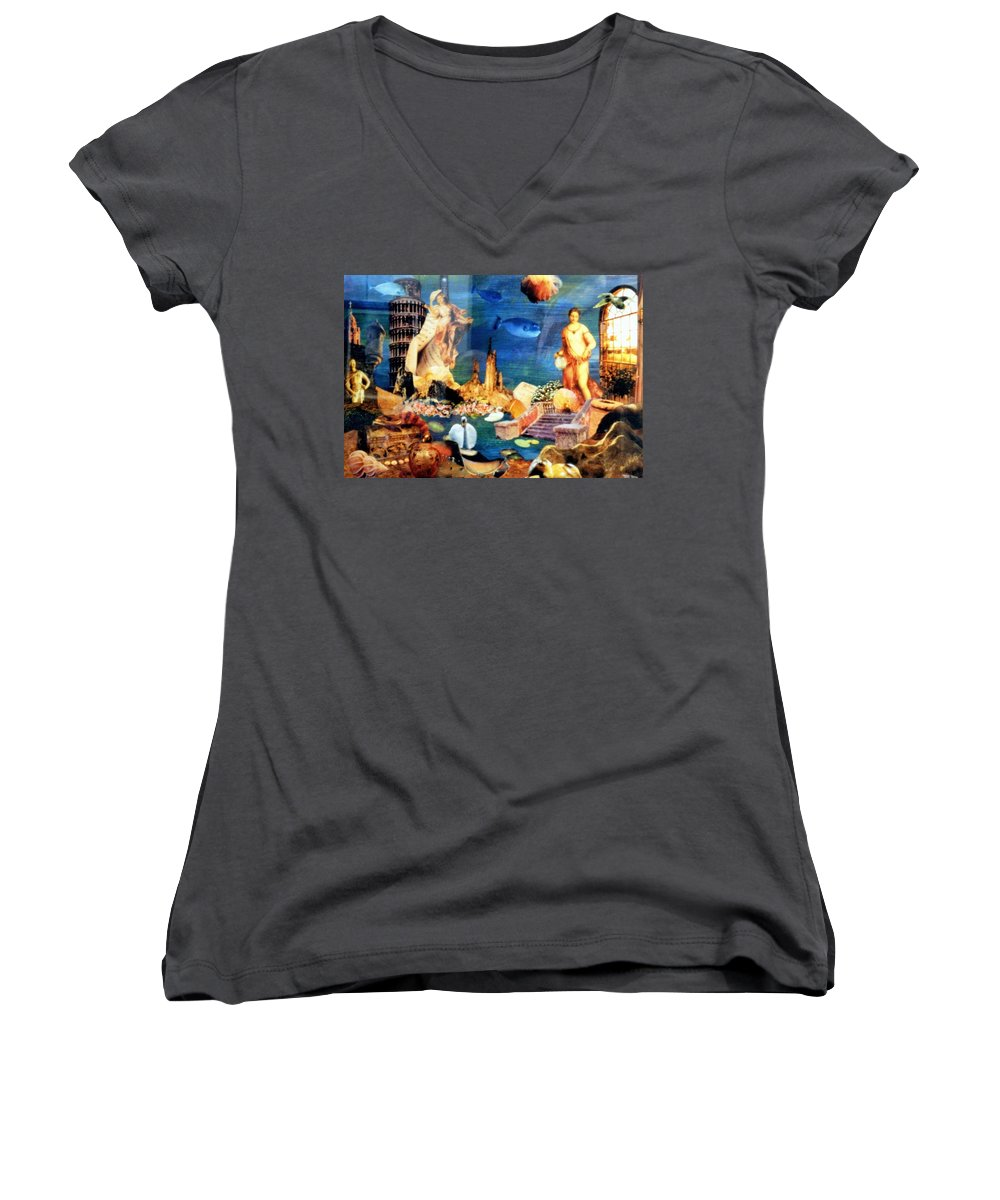 Fantasy Women's V-Neck (Athletic Fit) featuring the painting Sea Garden by Gail Kirtz