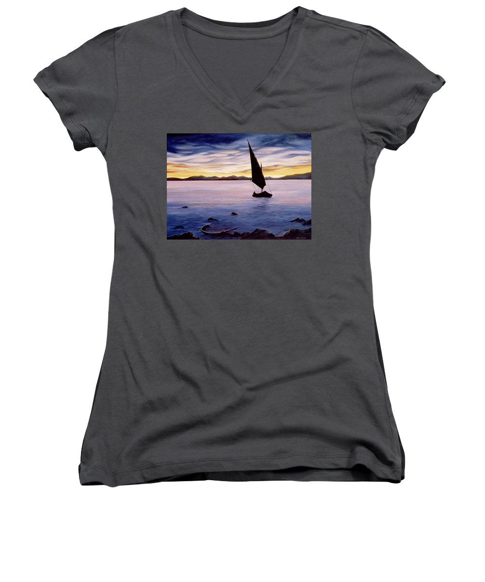Seascape Women's V-Neck (Athletic Fit) featuring the painting Sea Of Souls by Mark Cawood