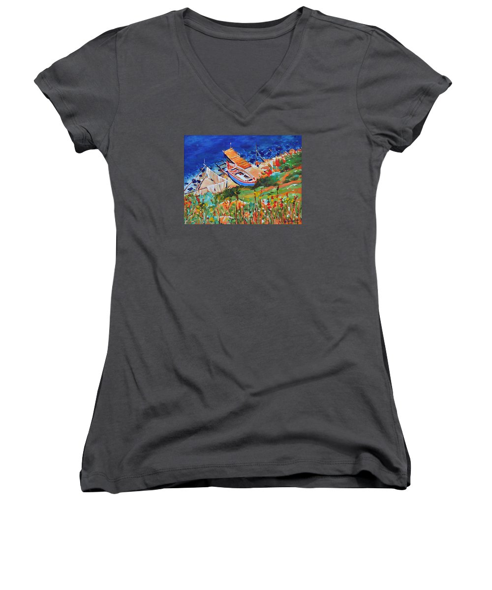Seascape Women's V-Neck T-Shirt featuring the painting Seacoast by Iliyan Bozhanov