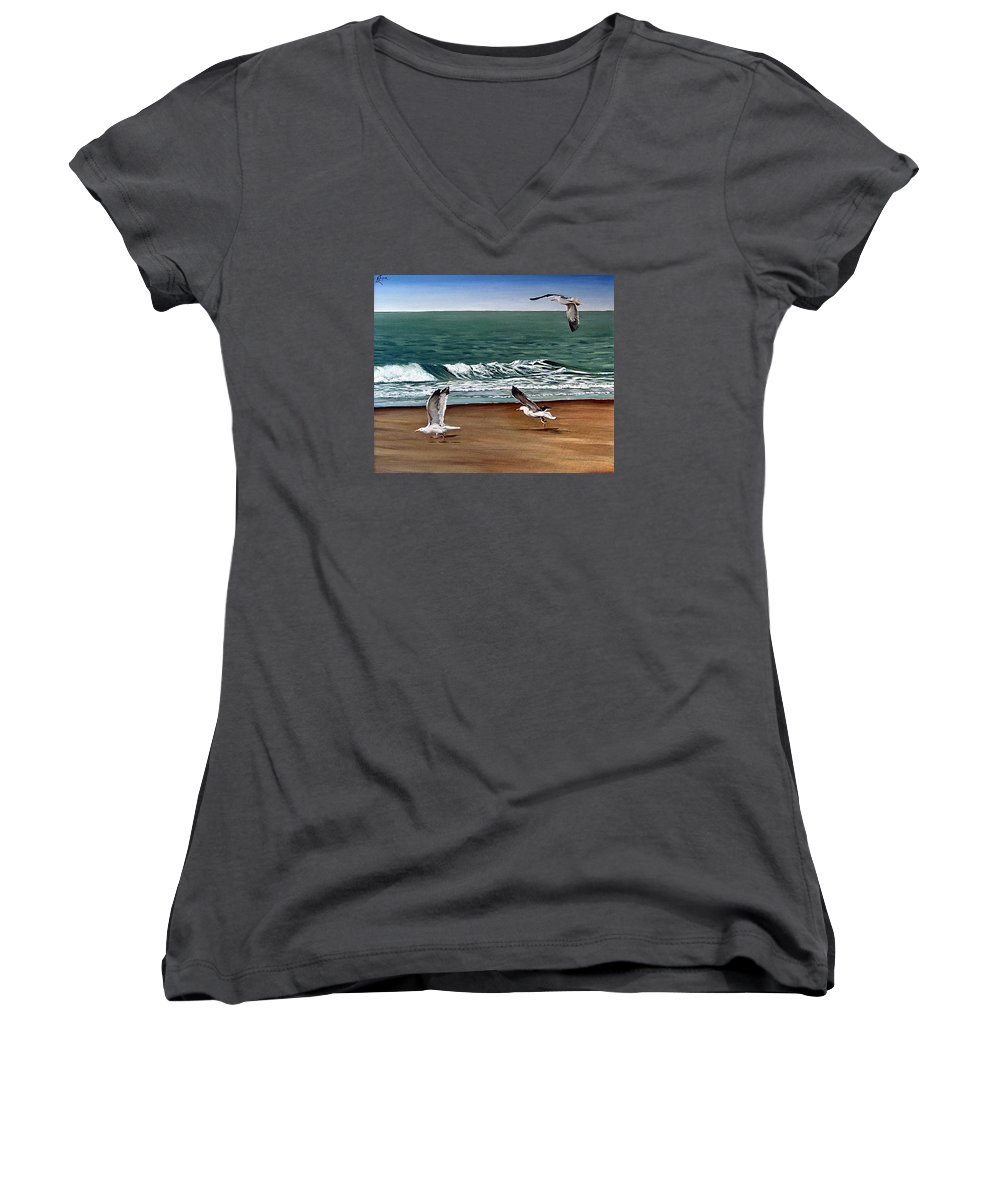 Seascape Women's V-Neck (Athletic Fit) featuring the painting Seagulls 2 by Natalia Tejera