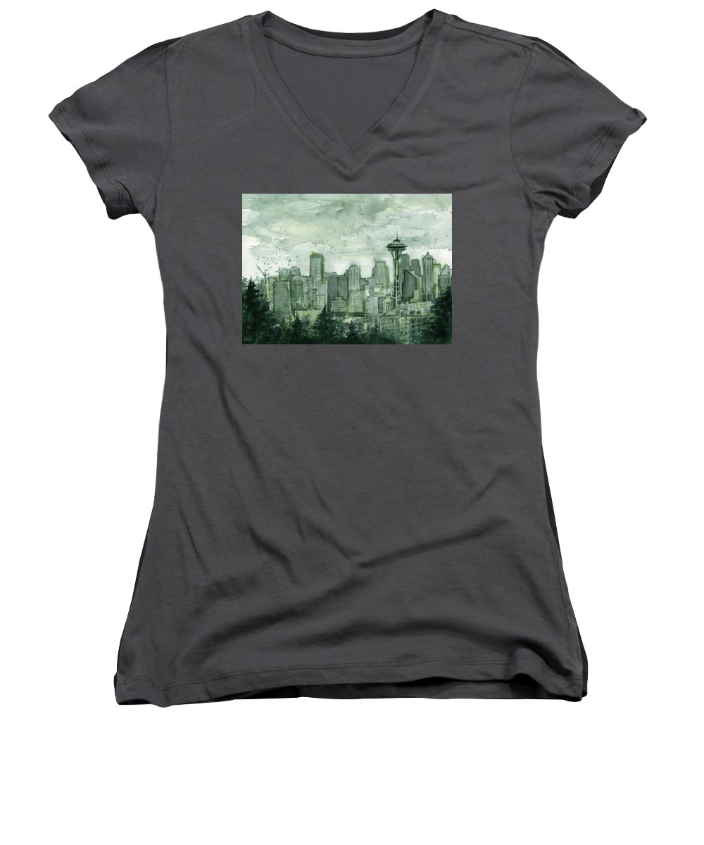 Seattle Women's V-Neck featuring the painting Seattle Skyline Watercolor Space Needle by Olga Shvartsur