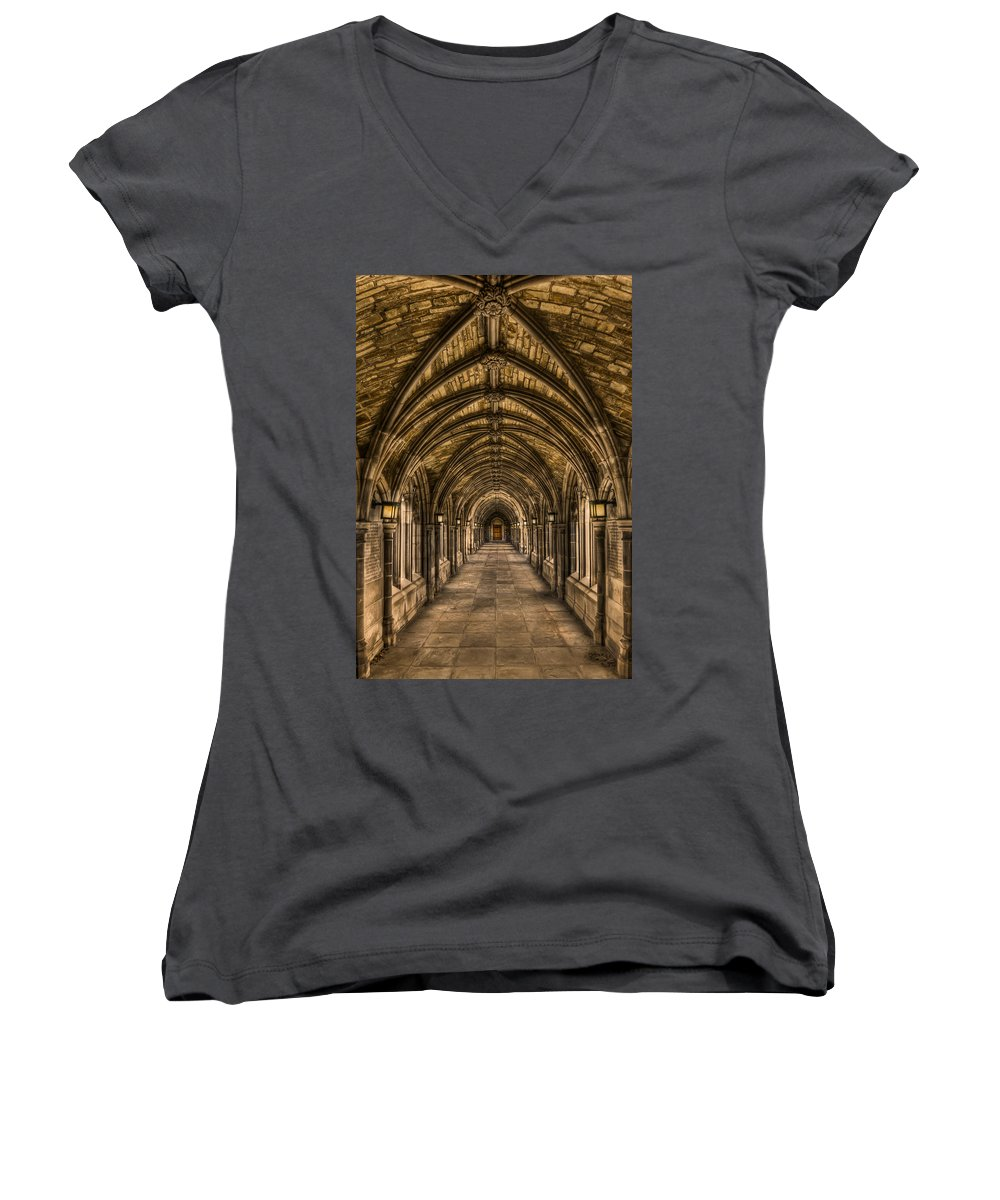 Arch Women's V-Neck featuring the photograph Seclusion by Evelina Kremsdorf