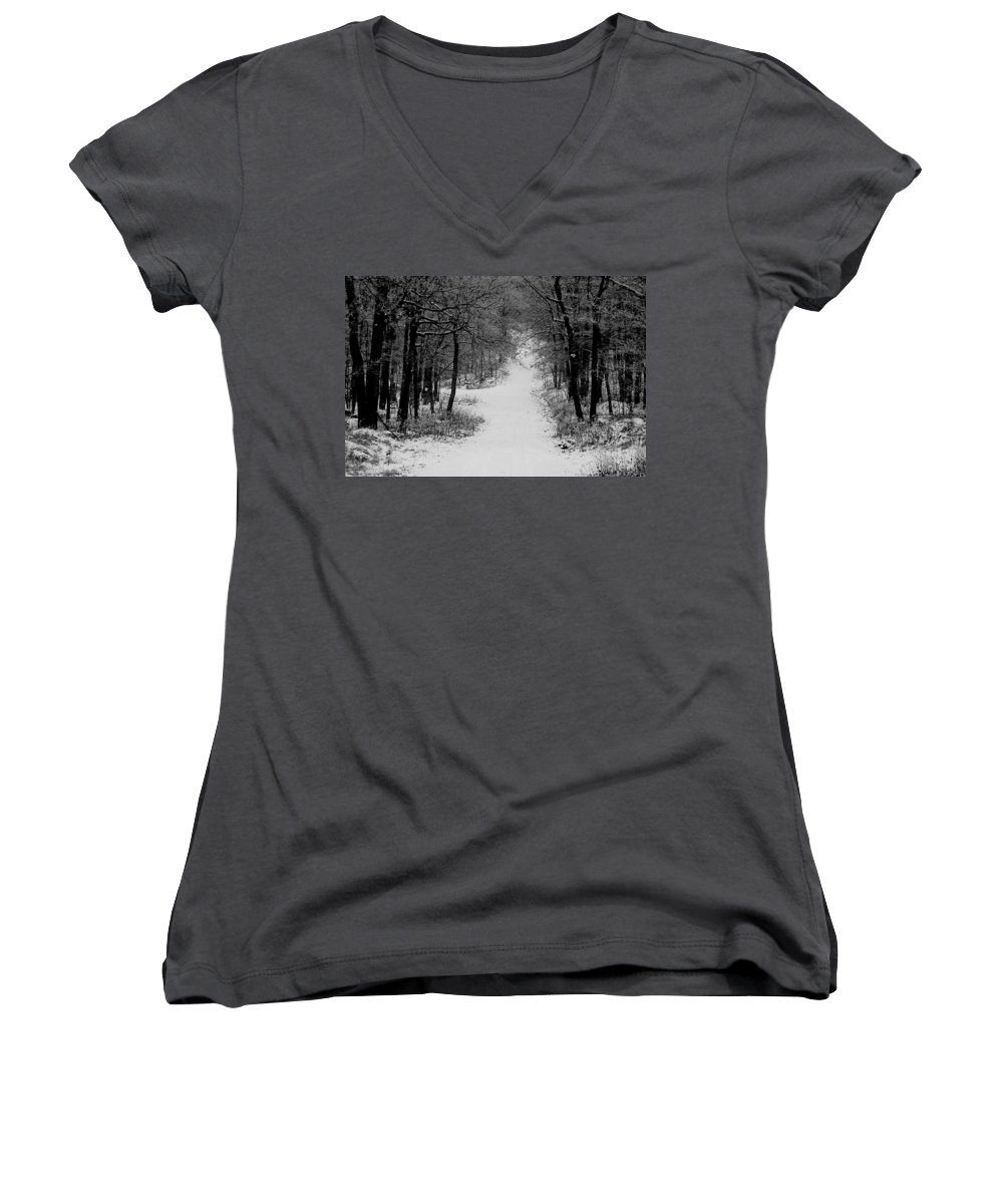 Snow Women's V-Neck (Athletic Fit) featuring the photograph See Where It Leads. by Jean Macaluso