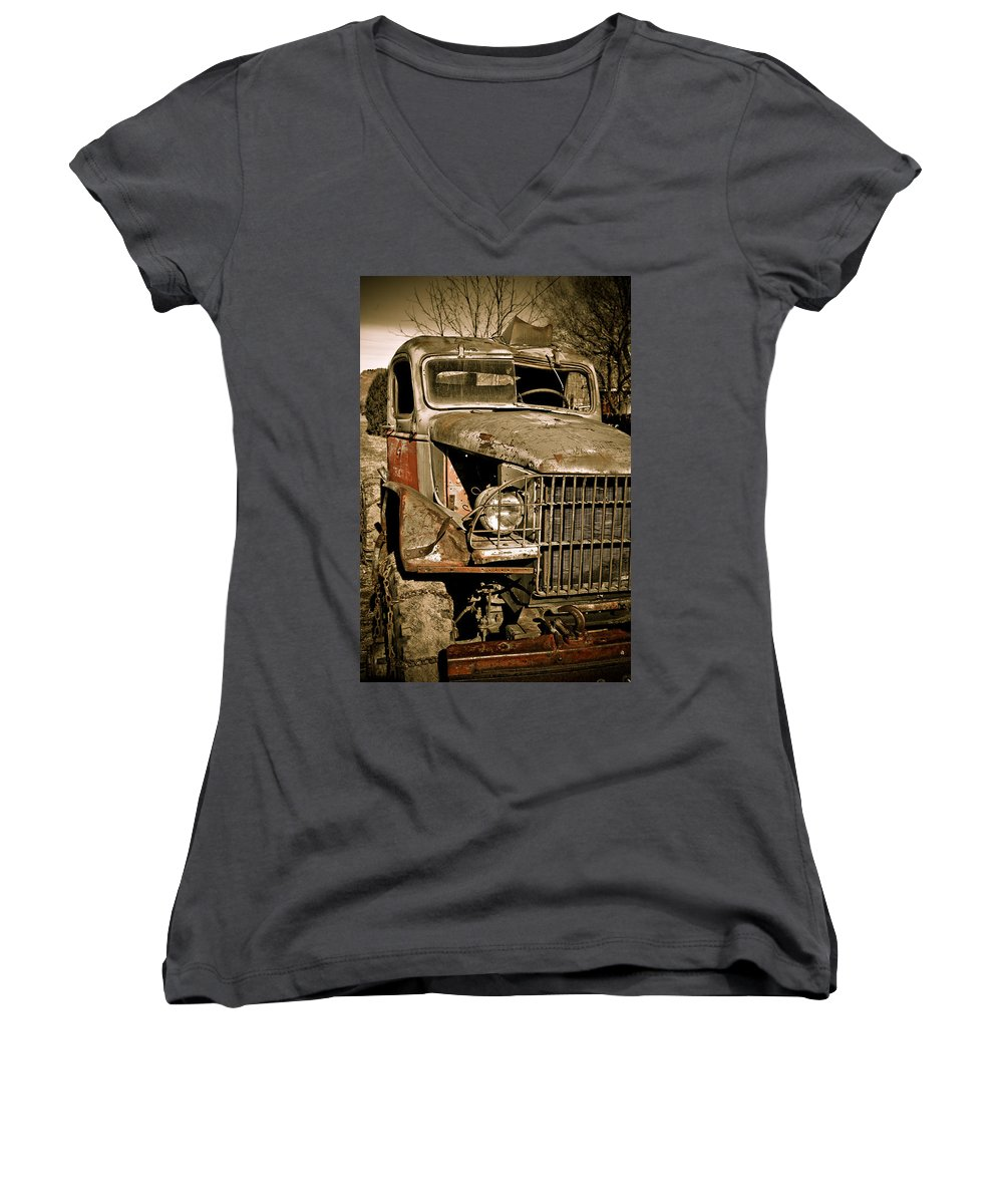 Old Vintage Antique Truck Worn Western Women's V-Neck T-Shirt featuring the photograph Seen Better Days by Marilyn Hunt