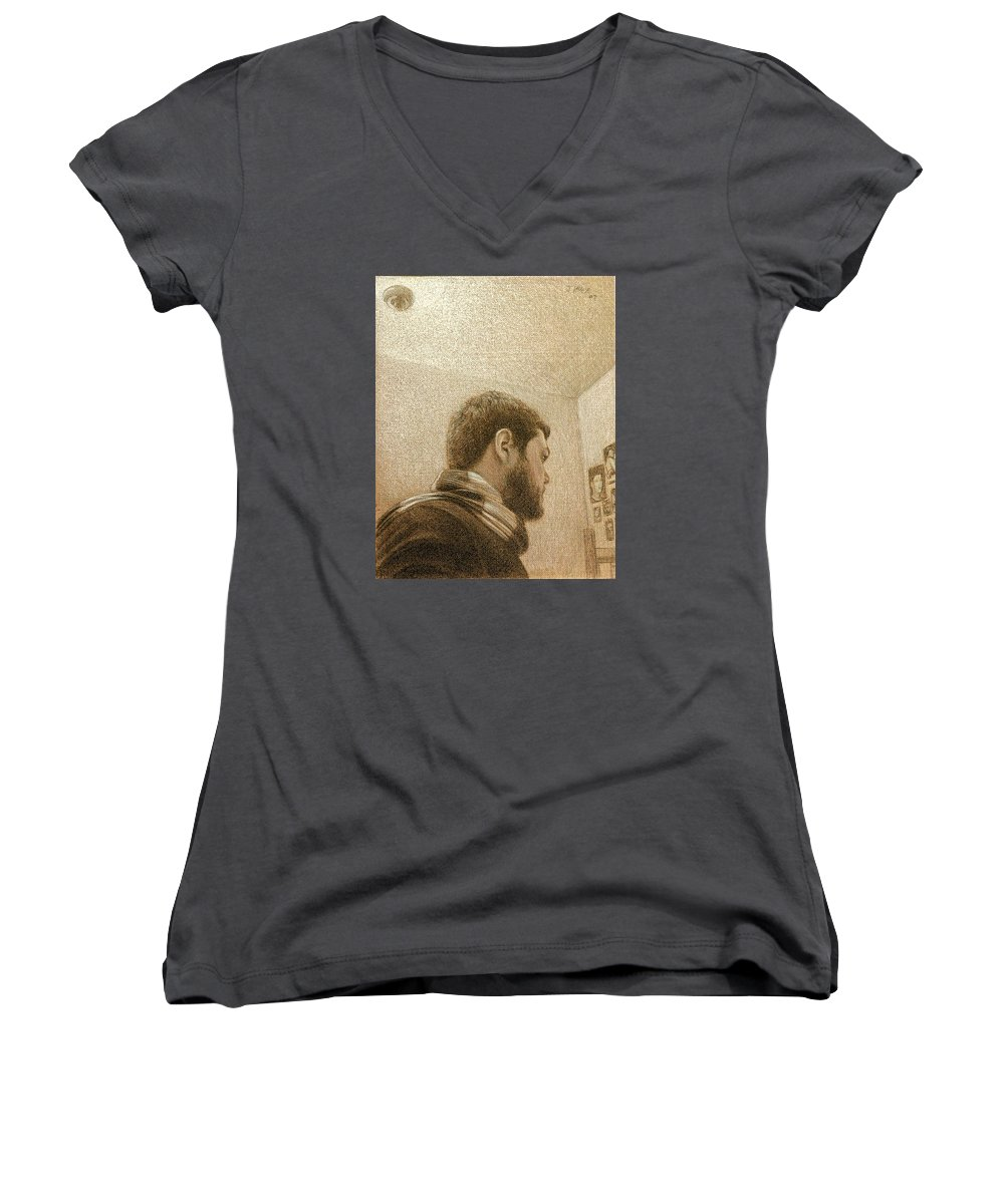 Women's V-Neck T-Shirt featuring the painting Self by Joe Velez