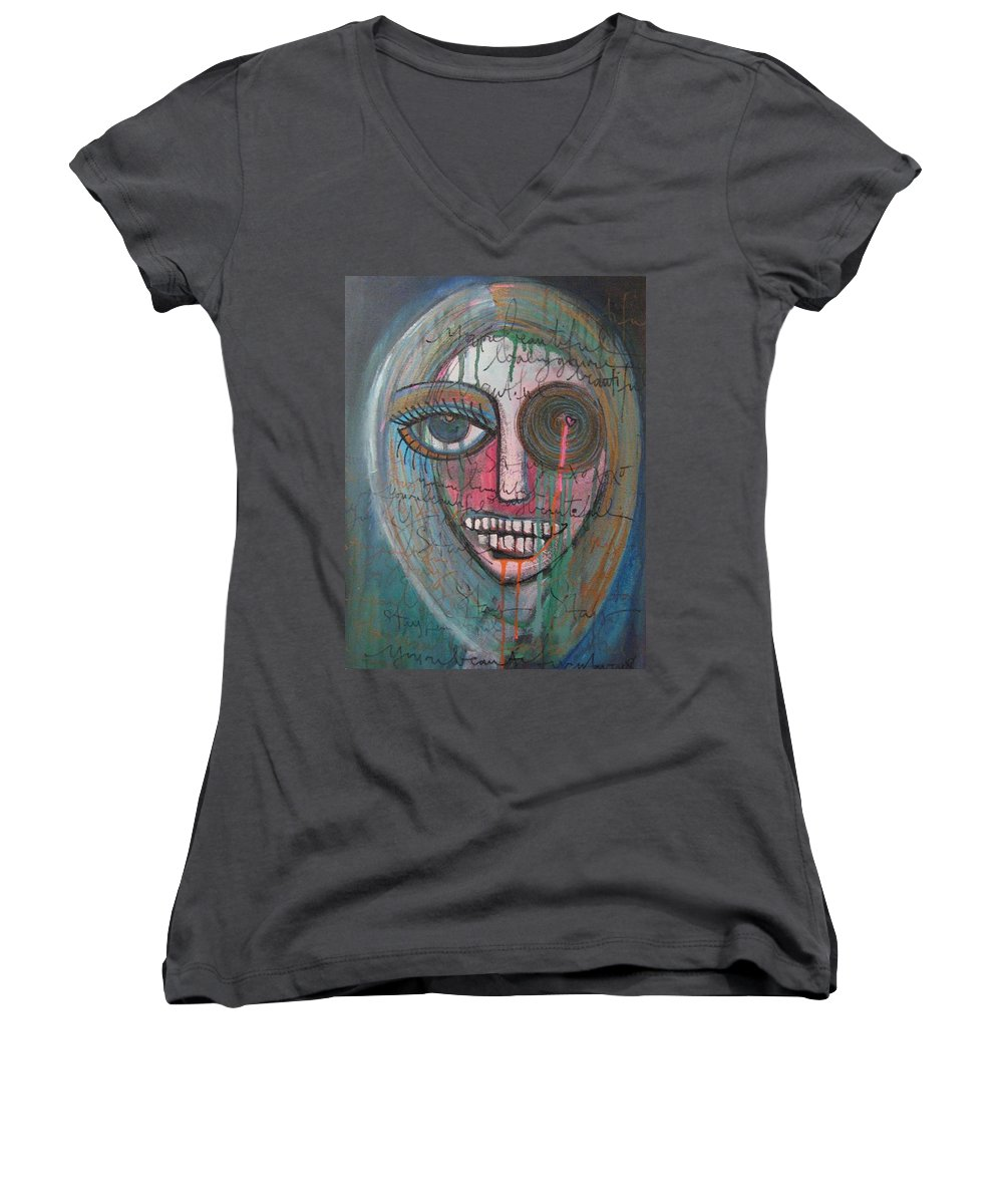 Self Portraits Women's V-Neck T-Shirt featuring the painting Self Portrait Youre Beautiful by Laurie Maves ART