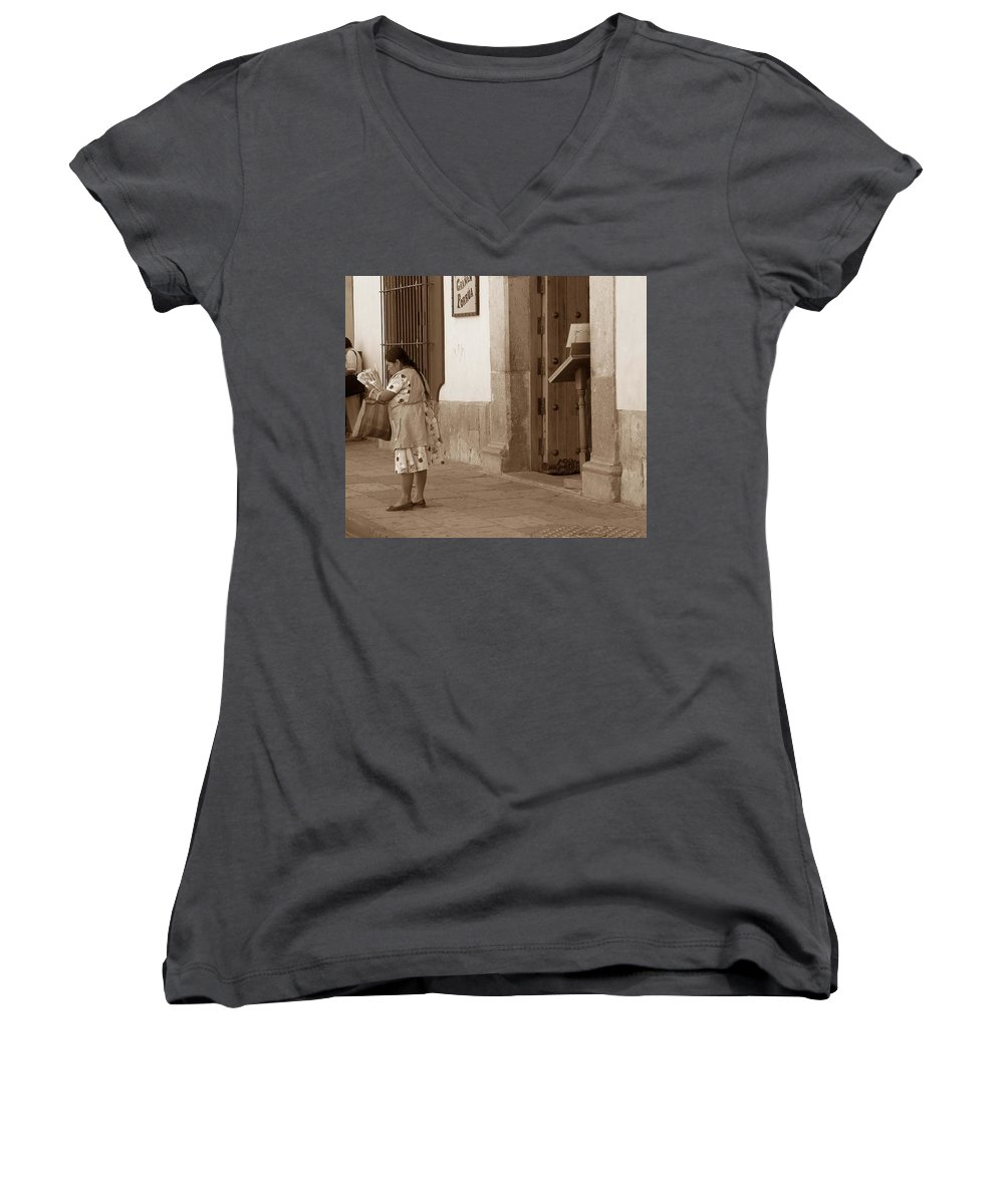Charity Women's V-Neck T-Shirt featuring the photograph Senora by Mary-Lee Sanders