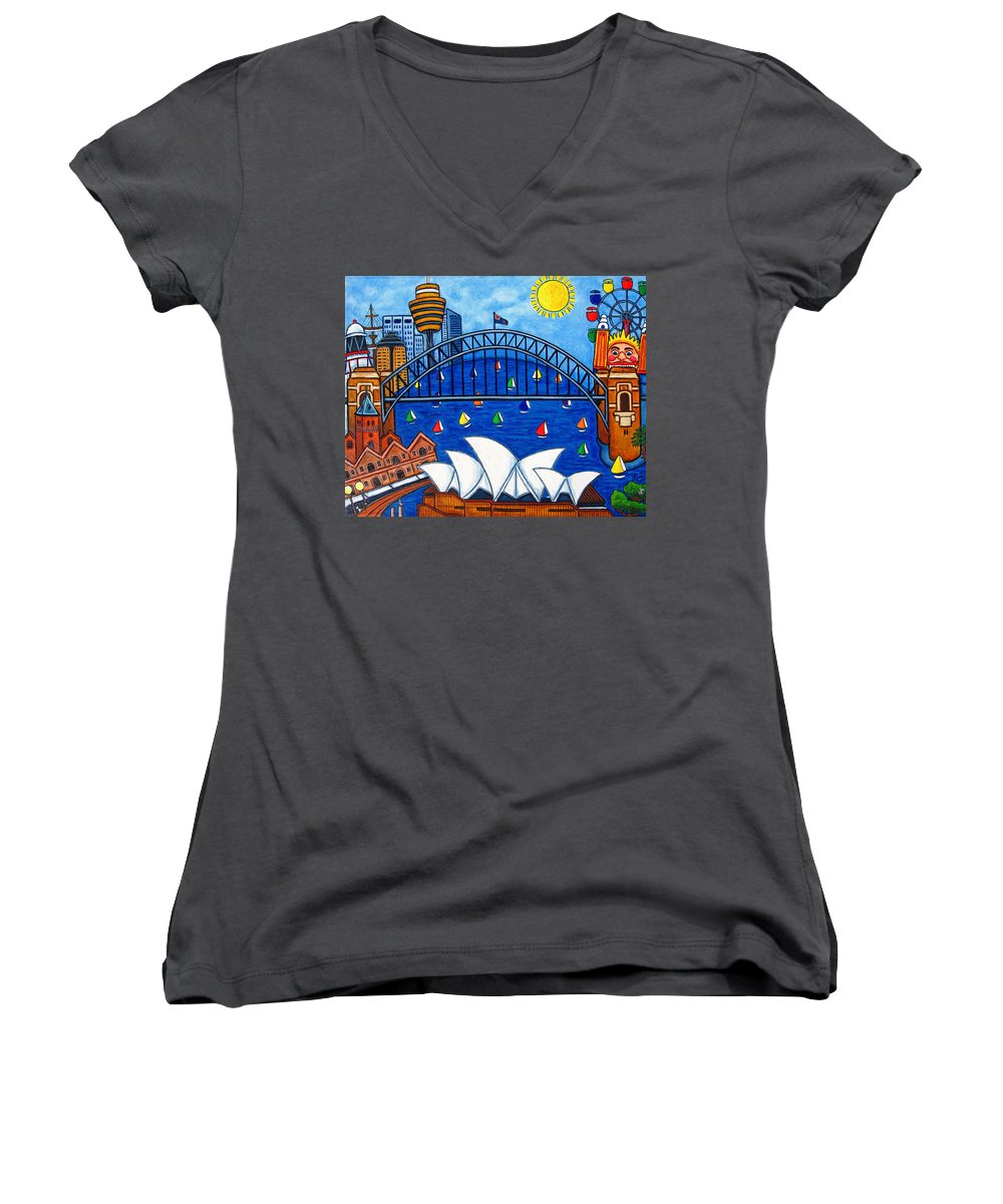 House Women's V-Neck (Athletic Fit) featuring the painting Sensational Sydney by Lisa Lorenz