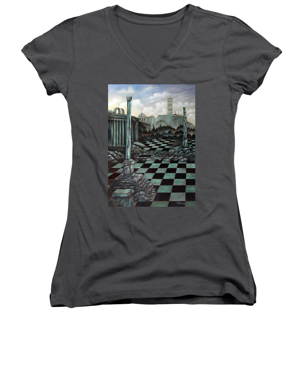Surreal Women's V-Neck T-Shirt featuring the painting Sepulchre by Valerie Vescovi