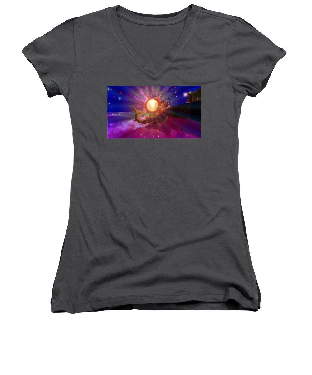 Sera Women's V-Neck T-Shirt featuring the digital art Sera Maroon by Mark Kleinschnitz