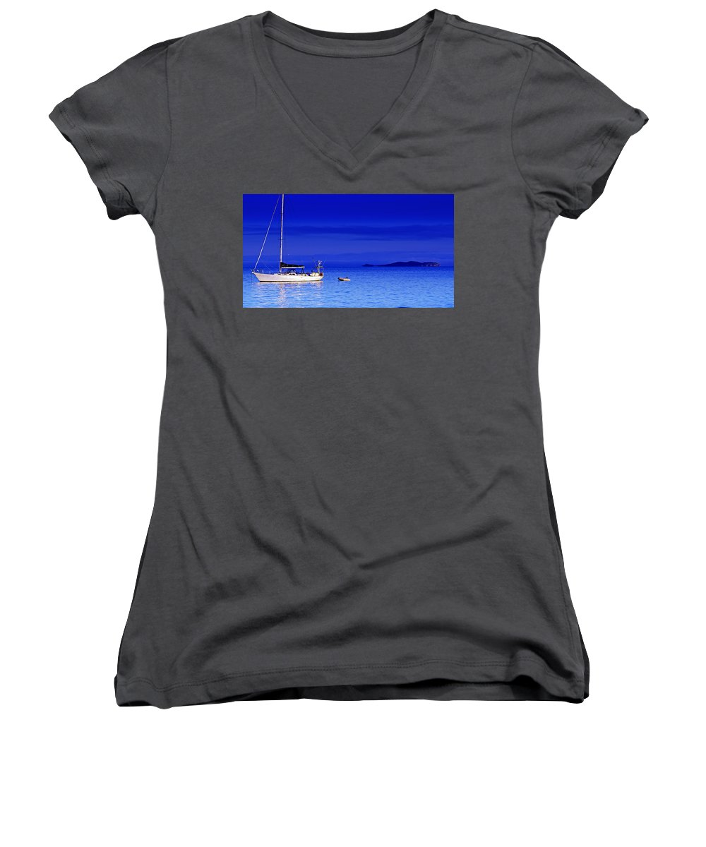 Transportation. Boats Women's V-Neck T-Shirt featuring the photograph Serene Seas by Holly Kempe