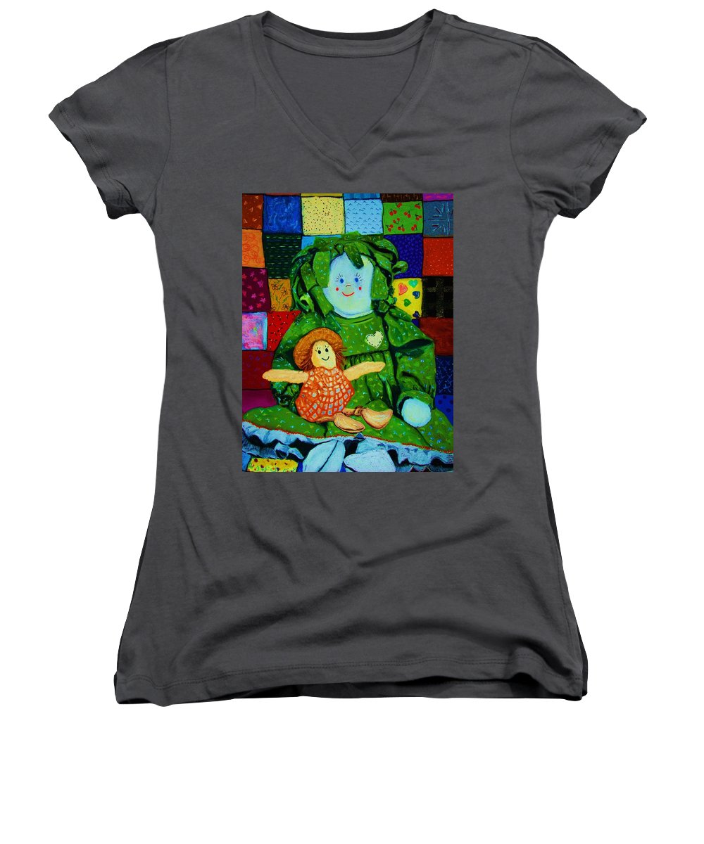 Dolls Women's V-Neck (Athletic Fit) featuring the print Sew Sweet by Melinda Etzold