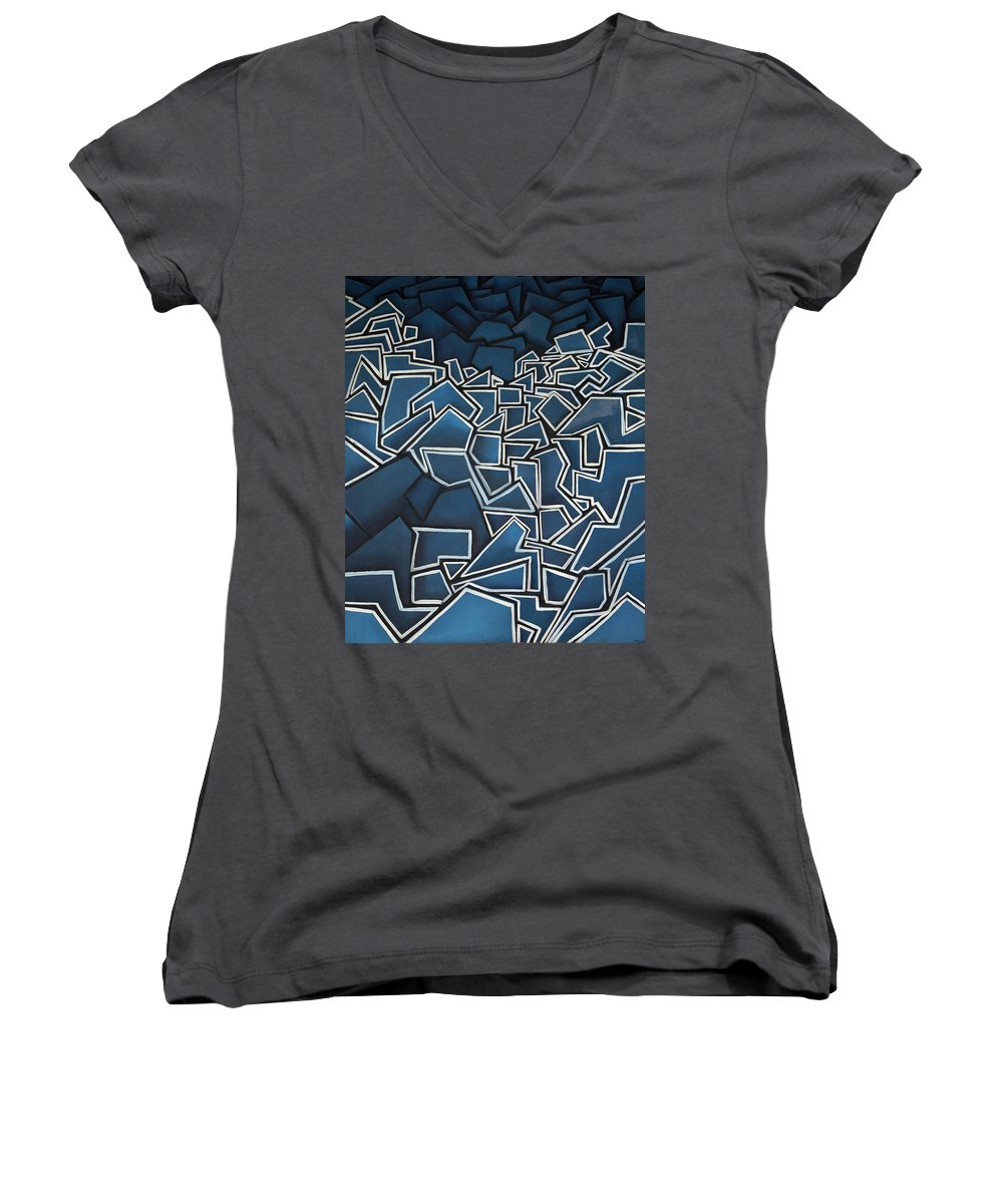 Abstract Women's V-Neck T-Shirt featuring the painting Shadderd Space by Thomas Valentine