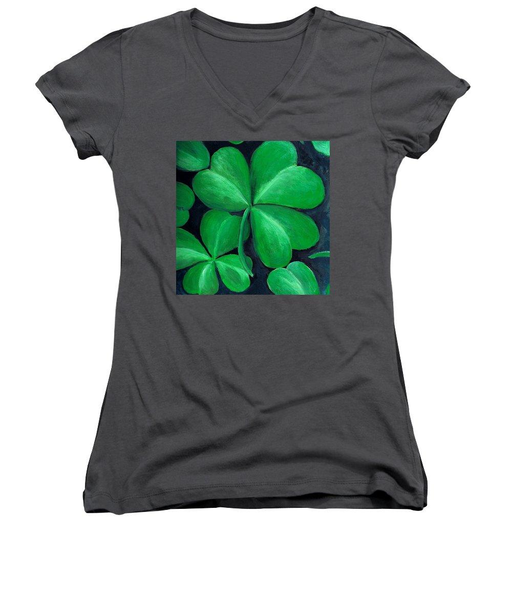 Shamrock Women's V-Neck T-Shirt featuring the painting Shamrocks by Nancy Mueller