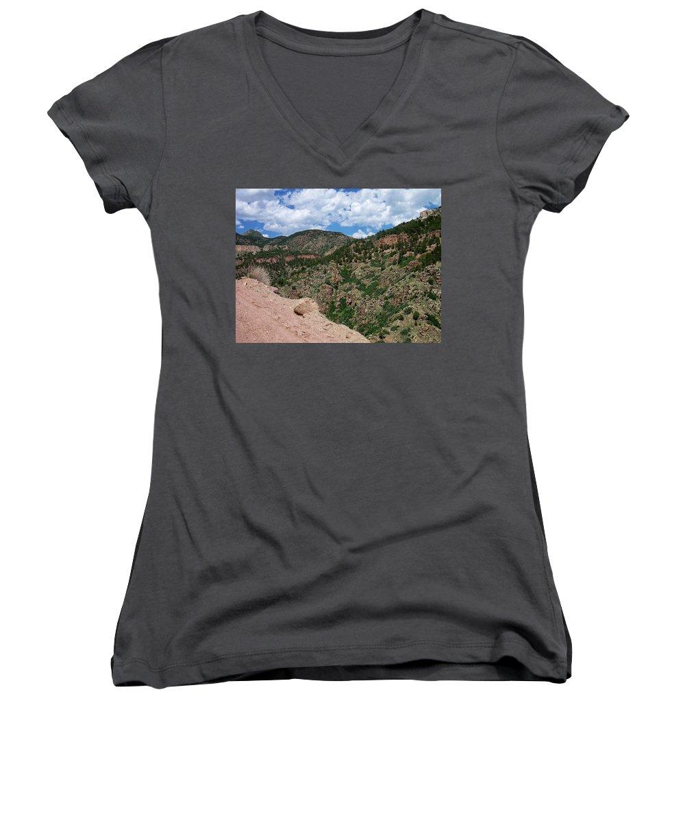 Shelf Road Women's V-Neck T-Shirt featuring the photograph Shelf Road Drop Off by Anita Burgermeister