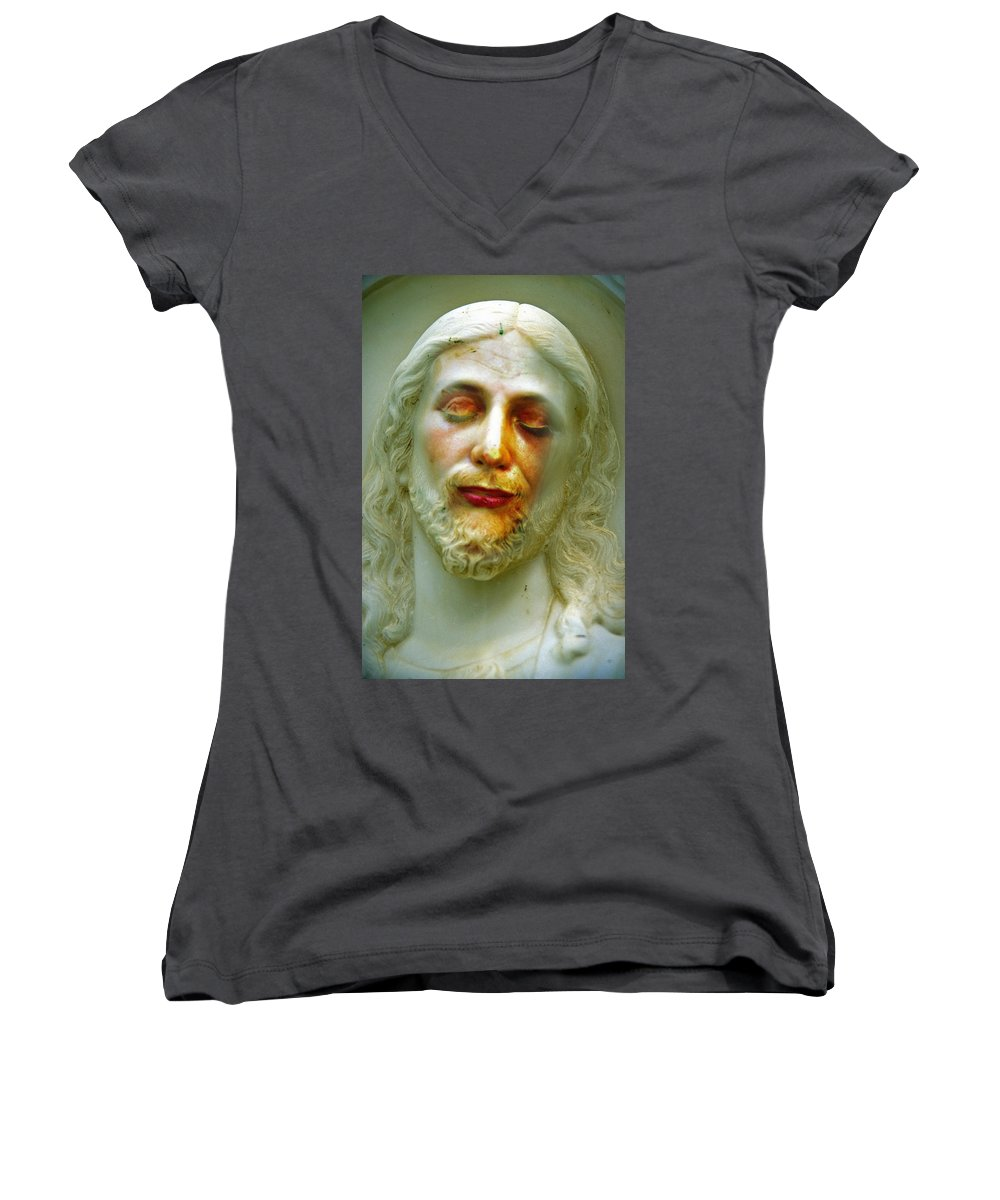 Jesus Women's V-Neck T-Shirt featuring the photograph Shesus by Skip Hunt