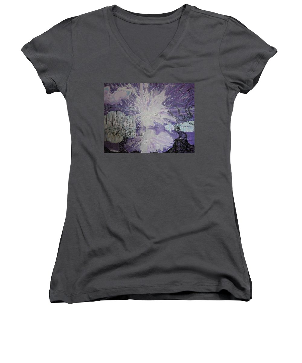 Squiggleism Women's V-Neck (Athletic Fit) featuring the painting Shore Dance by Stefan Duncan