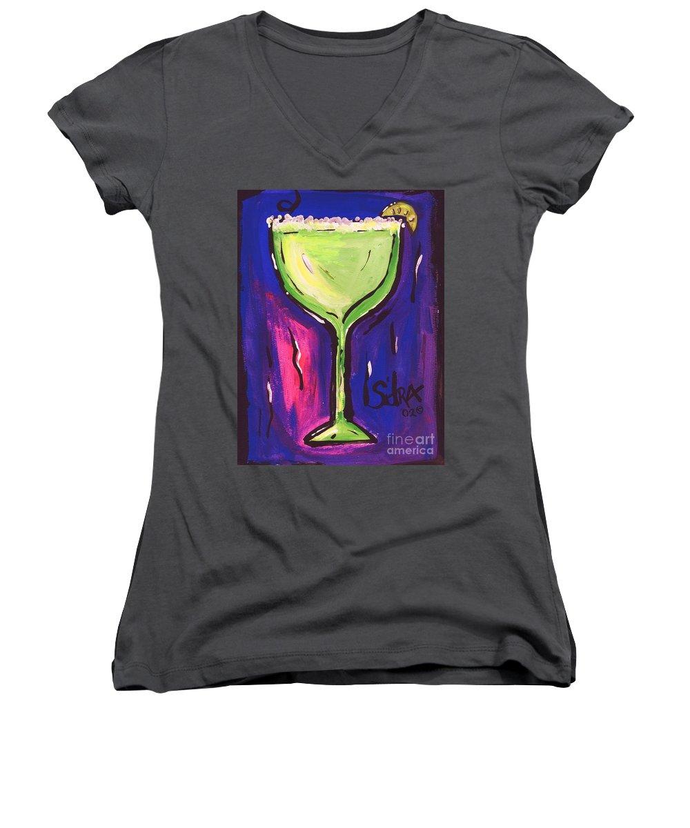 Margarita Women's V-Neck T-Shirt featuring the painting Sidzart Pop Art Series 2002 Margarita Baby by Sidra Myers