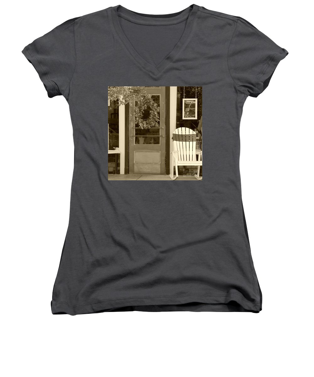Rocking Chair Women's V-Neck T-Shirt featuring the photograph Simple Times by Debbi Granruth