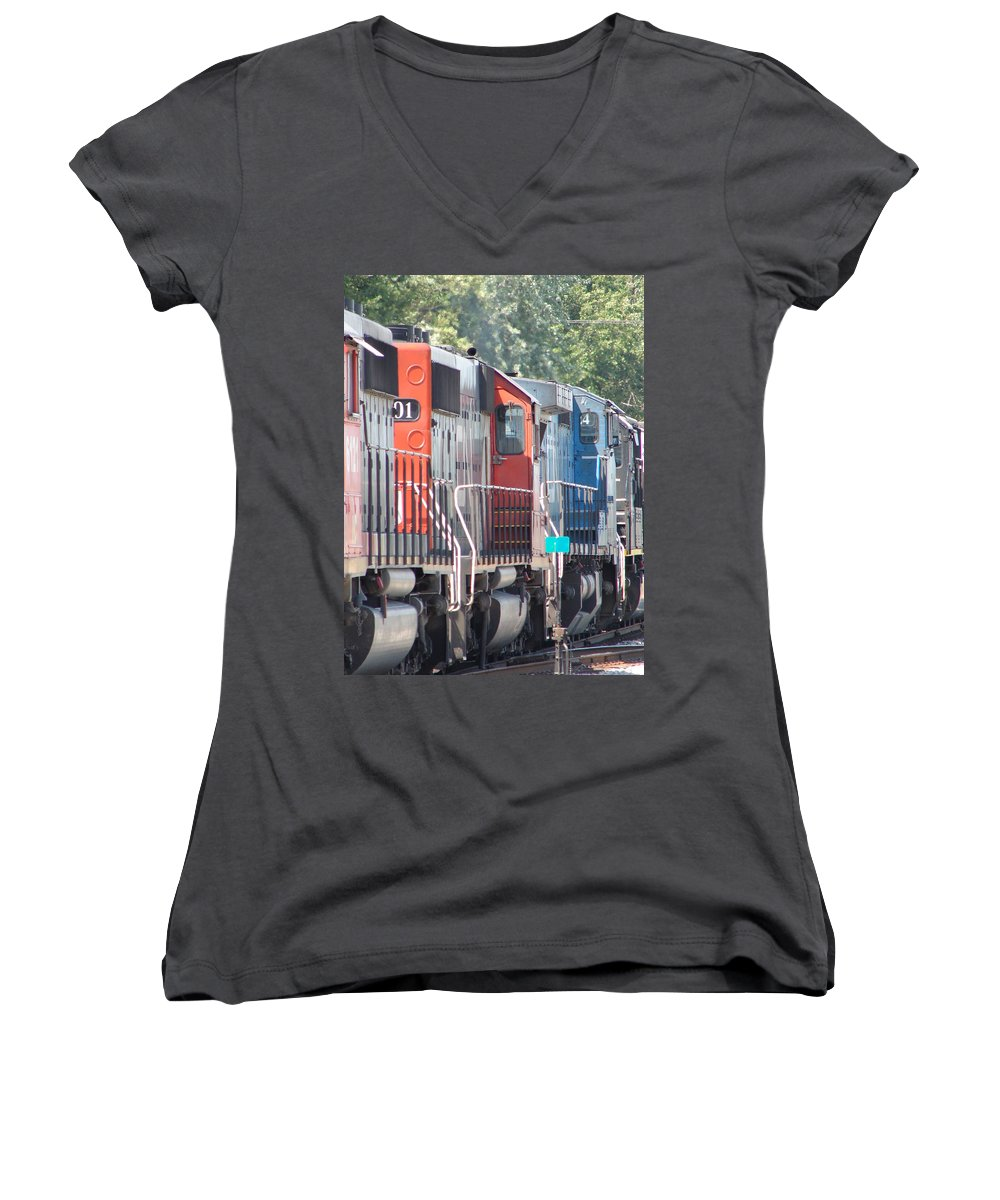 Women's V-Neck T-Shirt featuring the photograph Sitting In The Switching Yard by J R  Seymour