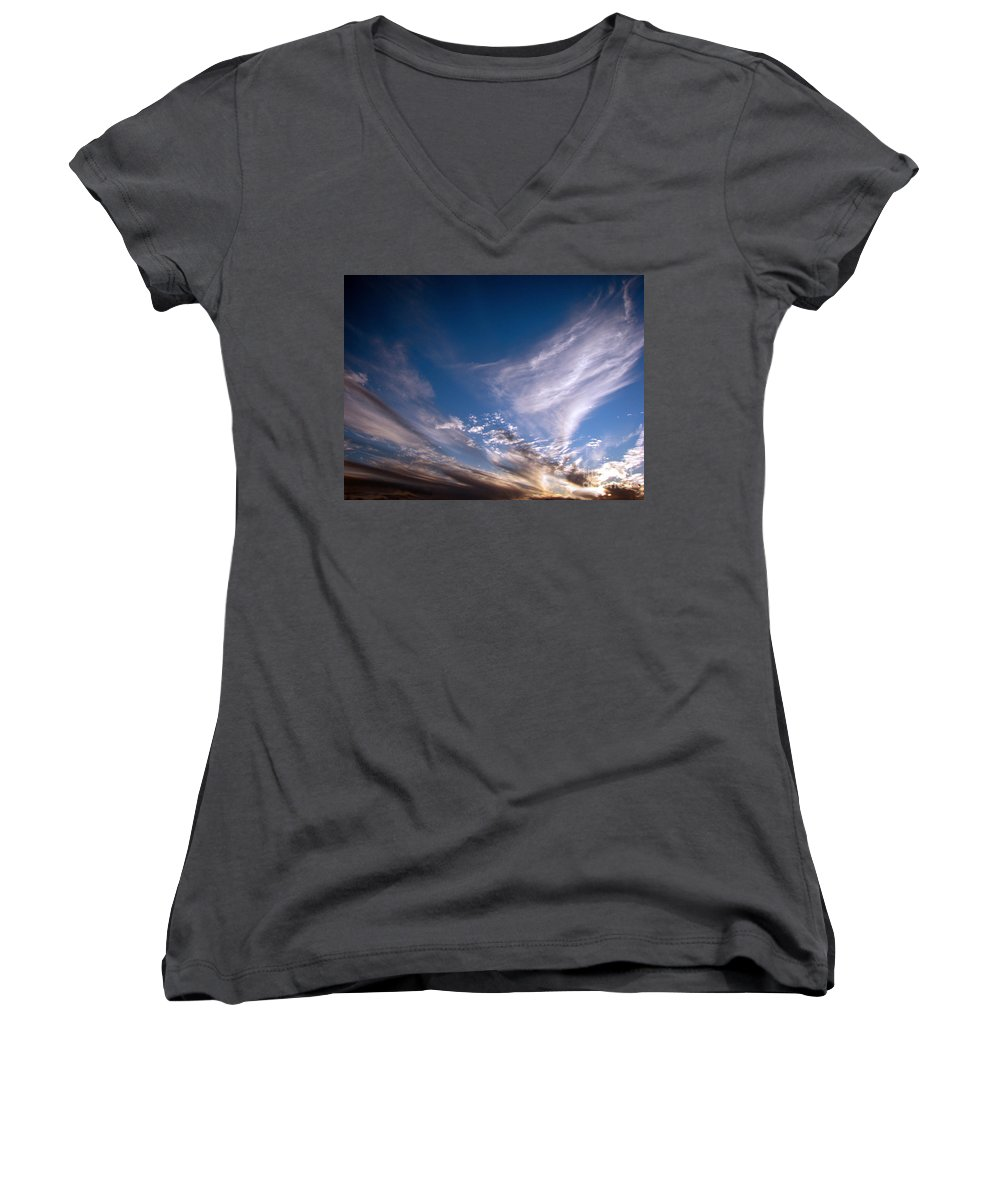 Skies Women's V-Neck T-Shirt featuring the photograph Sky by Amanda Barcon