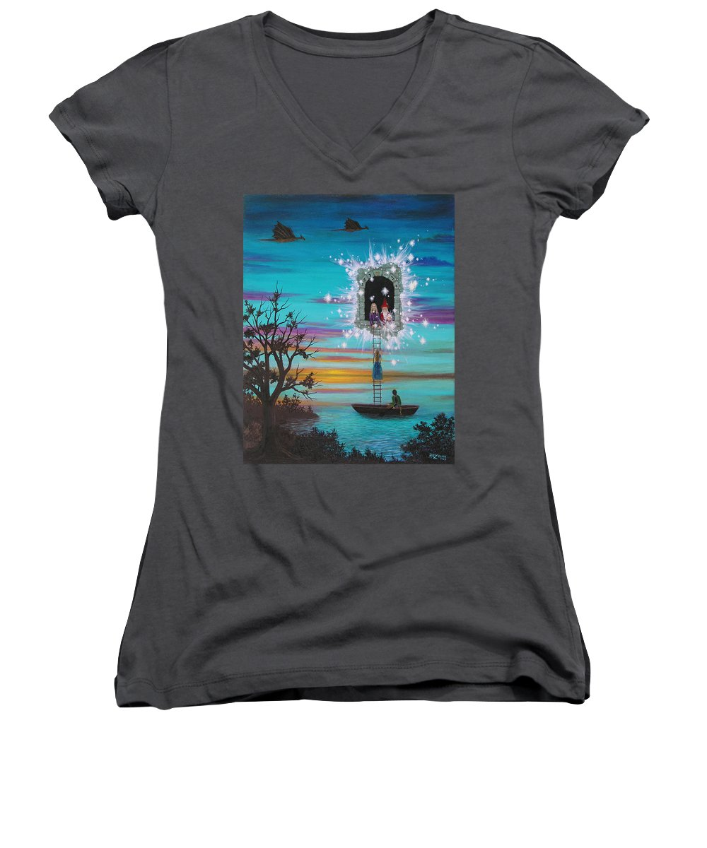 Fantasy Women's V-Neck (Athletic Fit) featuring the painting Sky Window by Roz Eve