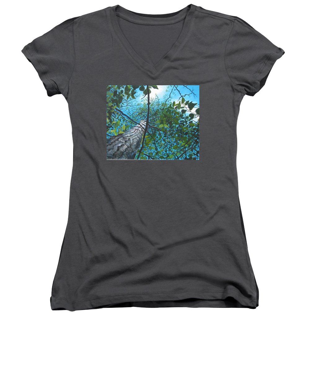 Landscape Women's V-Neck T-Shirt featuring the painting Skyward by William Brody