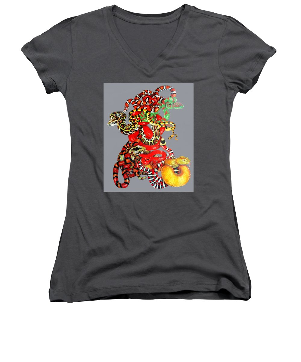 Reptile Women's V-Neck (Athletic Fit) featuring the drawing Slither by Barbara Keith