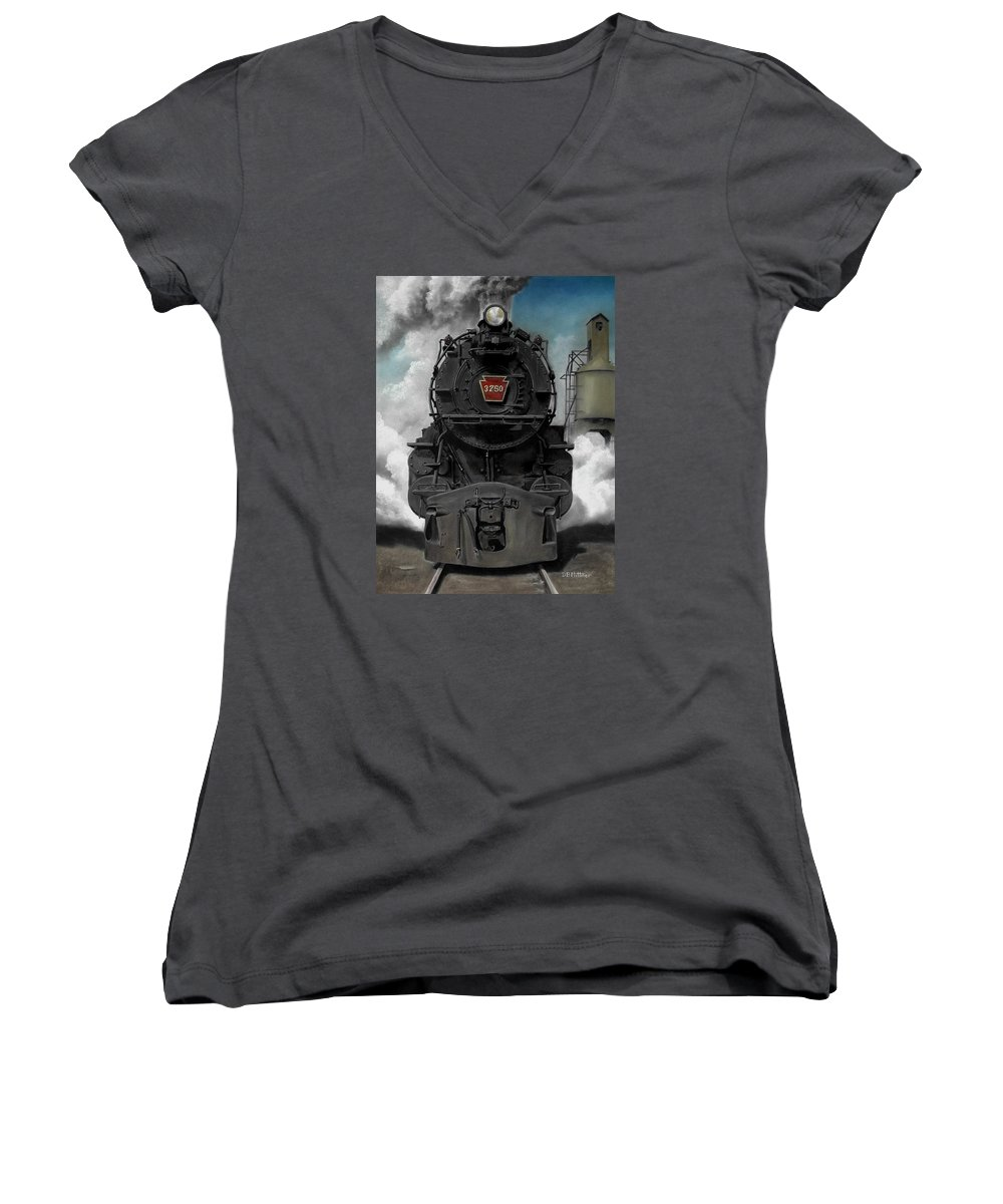 Trains Women's V-Neck T-Shirt featuring the painting Smoke And Steam by David Mittner