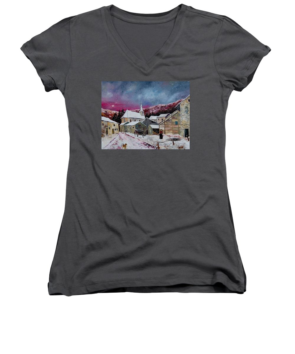 Snow Women's V-Neck T-Shirt featuring the painting Snow Is Falling by Pol Ledent