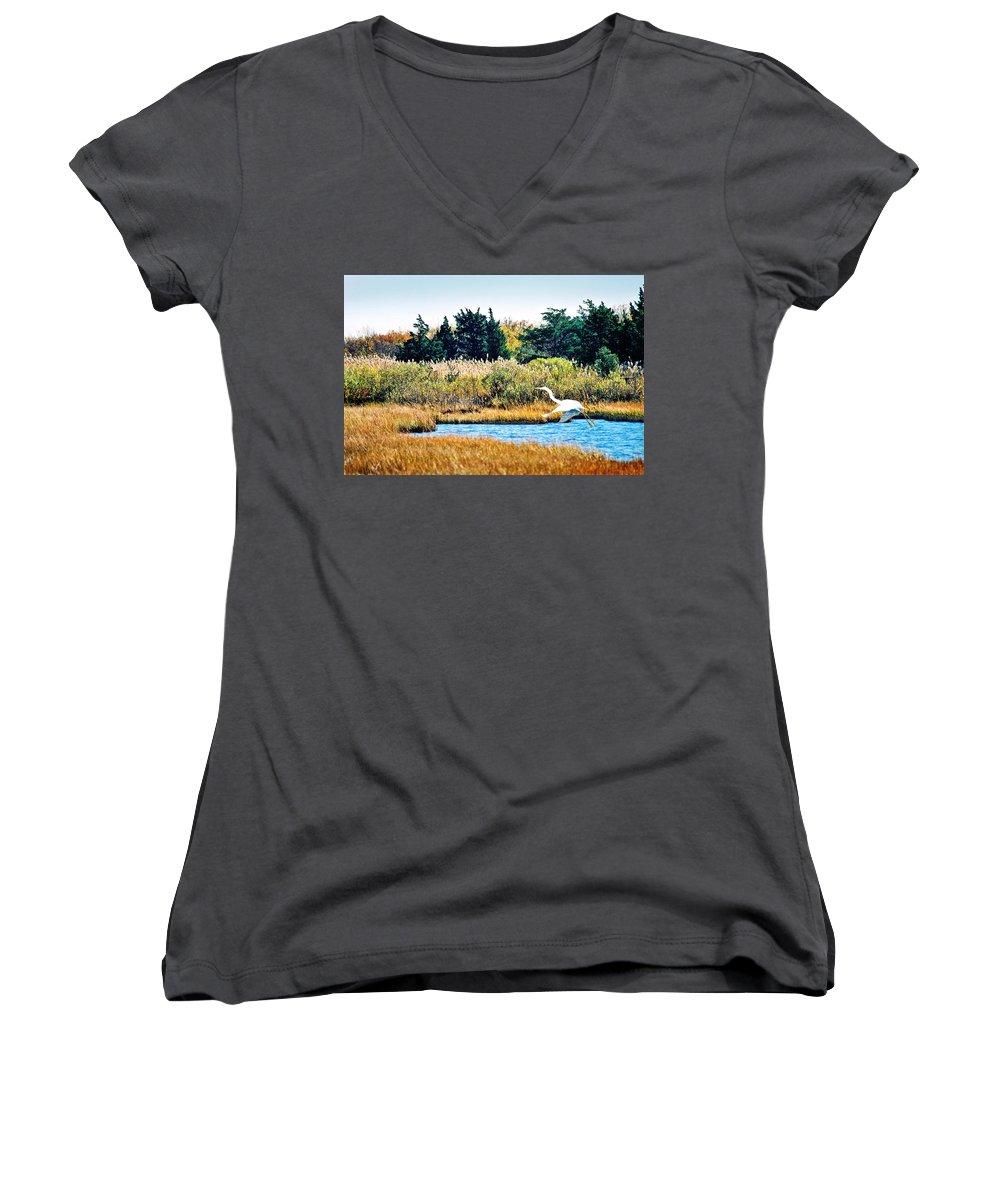Landscape Women's V-Neck T-Shirt featuring the photograph Snowy Egret-island Beach State Park N.j. by Steve Karol