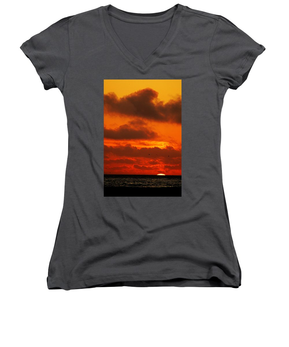 Clay Women's V-Neck T-Shirt featuring the photograph Socal Sunset by Clayton Bruster