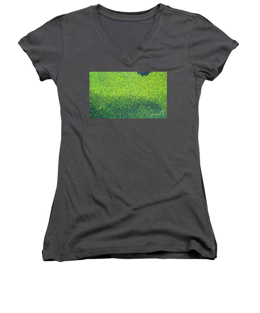 Abstract Women's V-Neck T-Shirt featuring the painting Soft Green Wet Trees by Dean Triolo
