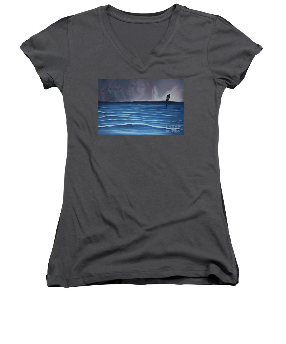 Tmad Women's V-Neck T-Shirt featuring the painting Solitude by Michael TMAD Finney