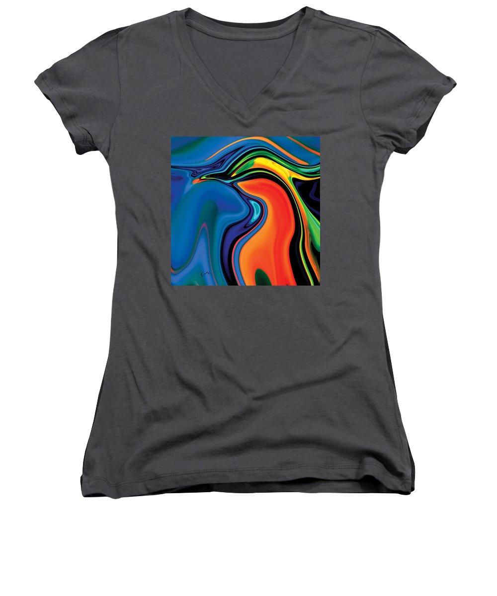Abstract Women's V-Neck T-Shirt featuring the digital art Soul Bird 2 by Rabi Khan