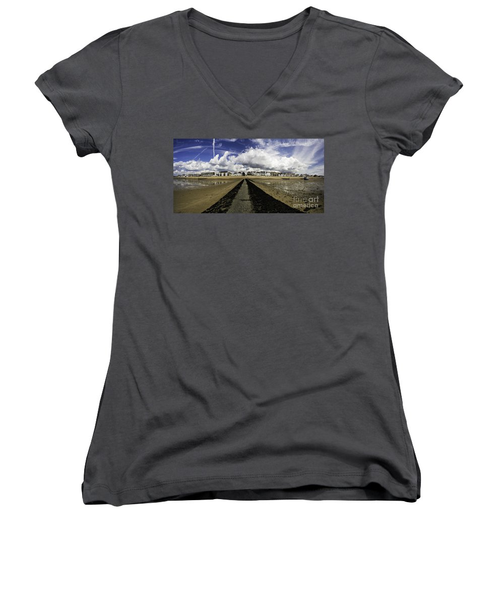 Southend On Sea Women's V-Neck T-Shirt featuring the photograph Southend On Sea Panorama by Sheila Smart Fine Art Photography