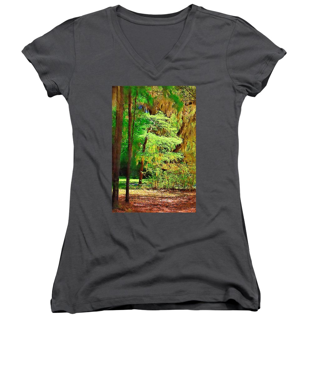 Woods Women's V-Neck T-Shirt featuring the photograph Southern Forest by Donna Bentley