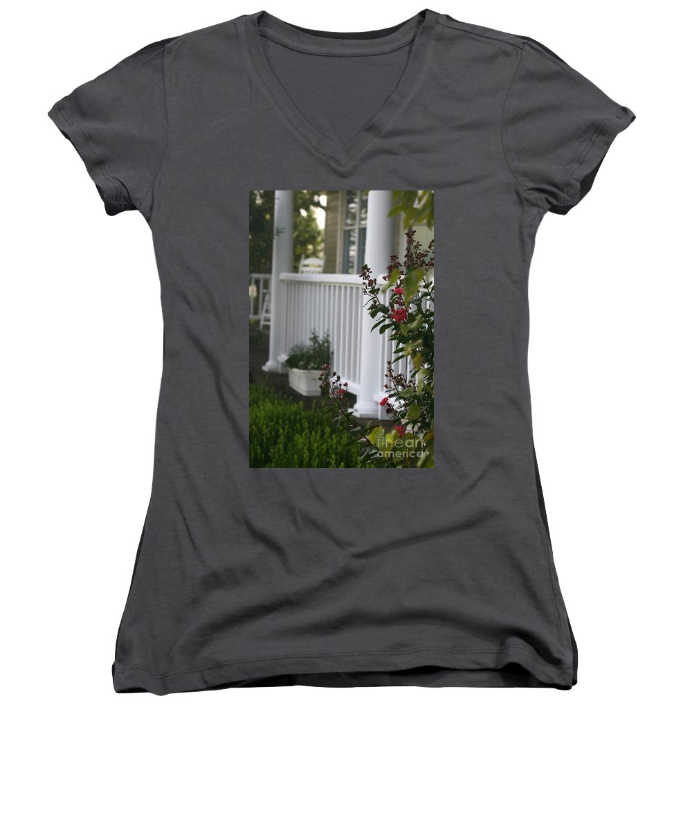 Summer Women's V-Neck (Athletic Fit) featuring the photograph Southern Summer Flowers And Porch by Nadine Rippelmeyer