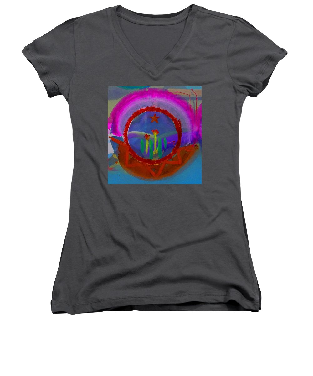 Love Women's V-Neck T-Shirt featuring the painting Spanish America by Charles Stuart