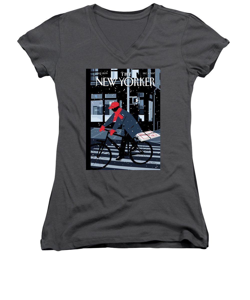 Special Delivery Women's V-Neck featuring the digital art Special Delivery by Kim DeMarco