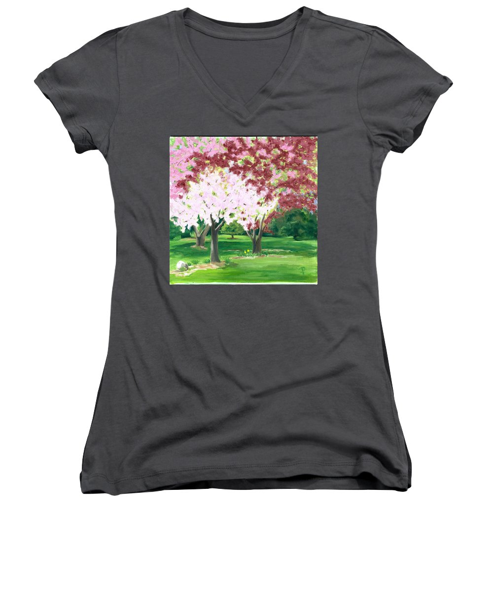 Spring Women's V-Neck T-Shirt featuring the painting Spring At Osage Land Trust by Paula Emery