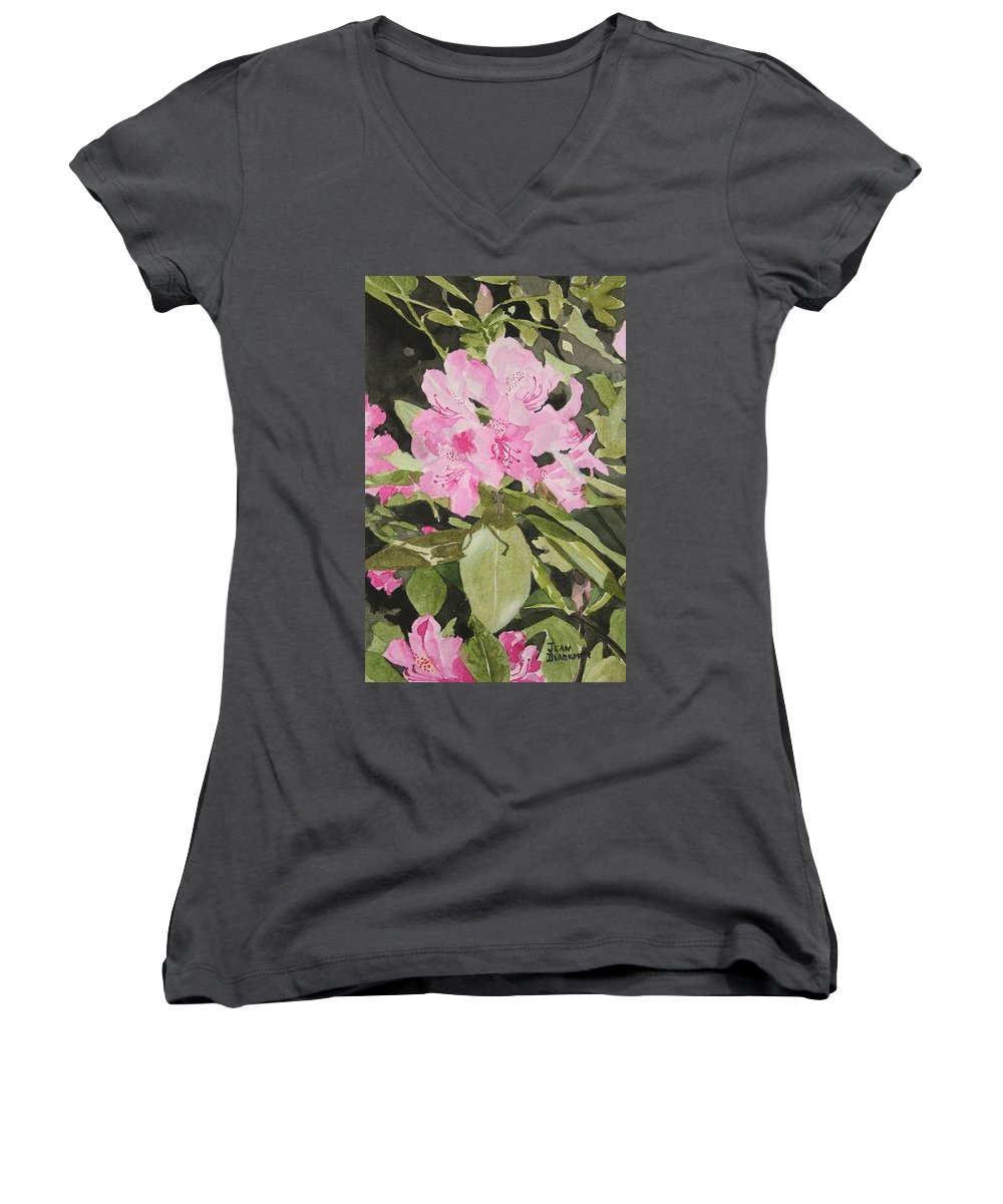 Flowers Women's V-Neck (Athletic Fit) featuring the painting Spring At The Cabin by Jean Blackmer