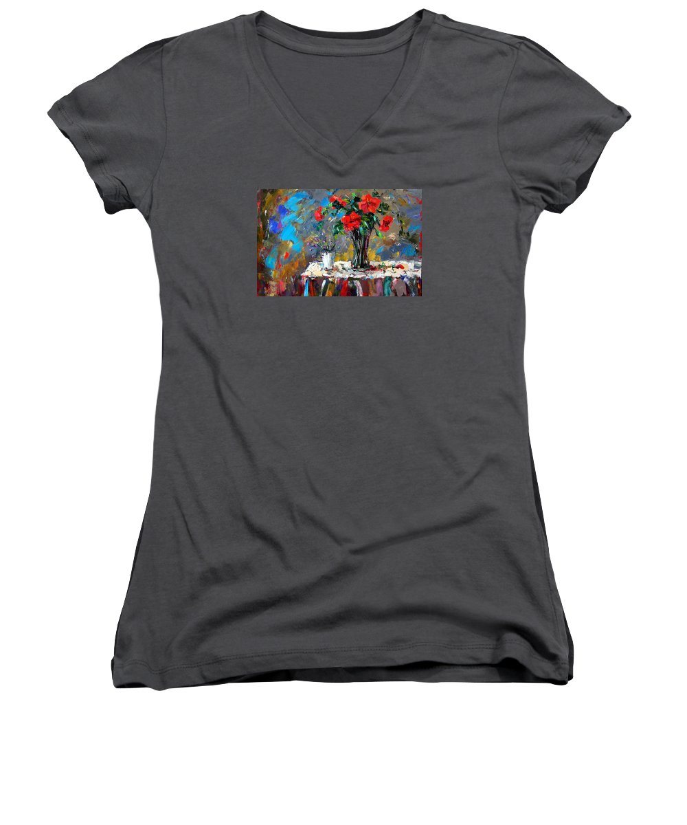 Flowers Women's V-Neck T-Shirt featuring the painting Spring Blooms by Debra Hurd