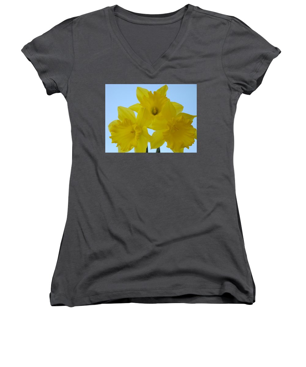 �daffodils Artwork� Women's V-Neck T-Shirt featuring the photograph Spring Daffodils 2 Flowers Art Prints Gifts Blue Sky by Baslee Troutman