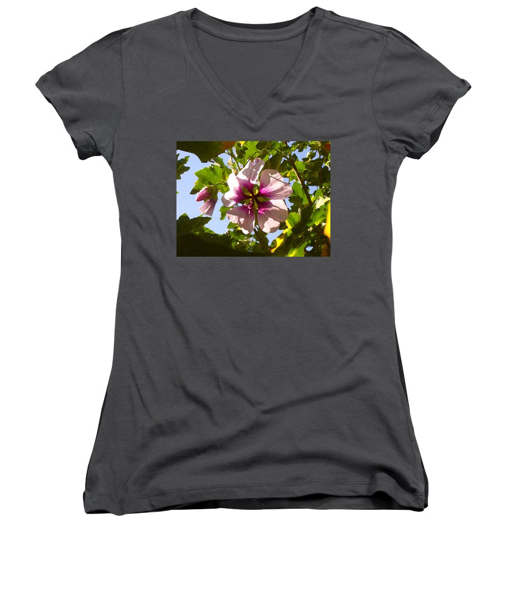 Flower Women's V-Neck T-Shirt featuring the painting Spring Flower Peeking Out by Amy Vangsgard