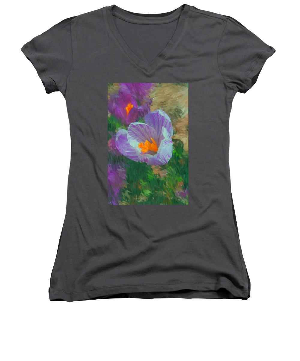 Digital Photography Women's V-Neck T-Shirt featuring the digital art Spring Has Sprung by David Lane
